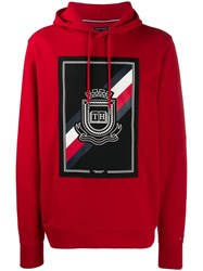 Tommy Hilfiger Logo Drawstring Hoodie Red