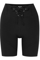 Year Of Ours Hockey Lace Up Ribbed Stretch Shorts Black