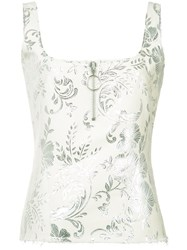 Marques Almeida Marques'almeida Zip Detail Jacquard Tank Women Cotton Polyester Acetate Metallized Polyester Xs White