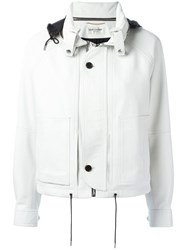 Saint Laurent Hooded Cropped Jacket White