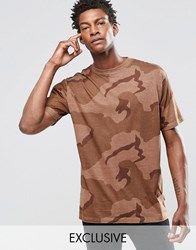 Reclaimed Vintage Oversized Camo T Shirt In Overdye Brown