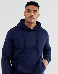 Pull And Bear Hoodie In Navy Navy