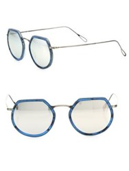Kyme Omar 49Mm Modified Round Mirrored Sunglasses Blue