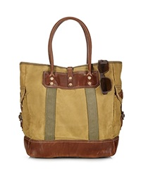 Polo Ralph Lauren Leather Trimmed Canvas Tote Barley Khaki