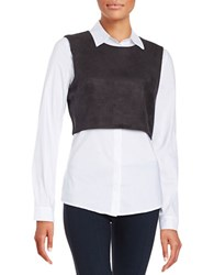 Bailey 44 Faux Suede Popover Shirt Black White