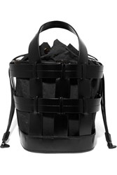 Trademark Cooper Caged Leather And Canvas Tote Black