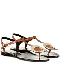 Roger Vivier Thong Chips Embellished Leather Sandals Brown