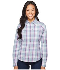 Columbia Silver Ridge Plaid L S Plum Mid Scale Dobby Women's Long Sleeve Button Up White