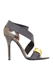 Christopher Kane Safety Buckle Metallic Strap Sandals