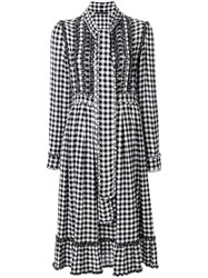 Ermanno Scervino Gingham Dress With Frills Silk Viscose Wool