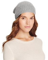 Bloomingdale's C By Cashmere Rib Slouch Hat Pale Gray