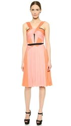 J. Mendel Asymmetrical Color Pleat Dress Kitten Pink Fire