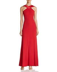 Emporio Armani Crisscross Back Panel Gown Red