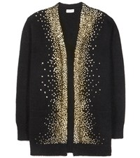 Saint Laurent Embellished Wool And Mohair Blend Cardigan Black