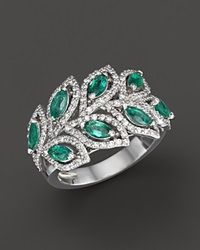 Bloomingdale's Emerald And Diamond Leaf Statement Ring In 14K White Gold Green White