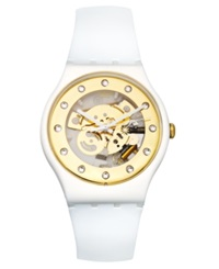 Swatch Watch Unisex Swiss Sunray Glam White Silicone Strap 41Mm Suoz148