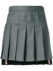 Thom Browne Striped Pleated Fun Mix Mini Skirt Grey