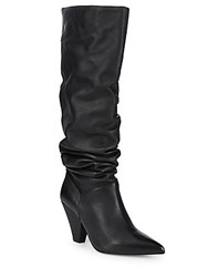 Saks Fifth Avenue Point Toe Leather Knee High Boots Black