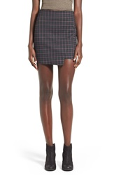 Fire Asymmetrical Hem Plaid Skirt Charcoal Plaid