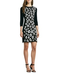 Phoebe By Kay Unger Animal Print Raglan Sleeve Knit Dress Large