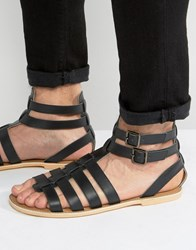 Frank Wright Gladiator Sandals In Black Leather Black