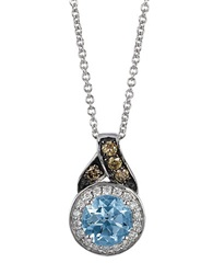 Levian 14K White Gold And Aqua Pendant With Chocolate And Vanilla Diamonds Aqua Diamond