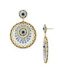 Miguel Ases Double Circle Drop Earrings Multi