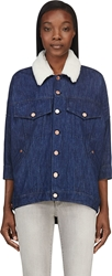 Band Of Outsiders Blue Shearling Collar Denim Jacket