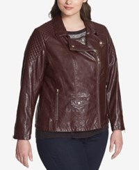 Tommy Hilfiger Plus Size Quilted Faux Leather Biker Jacket Wine