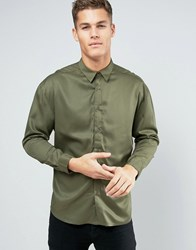 Another Influence Oversized Viscose Shirt Green