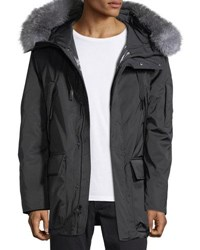 Andrew Marc New York Explorer Waterproof Fur Trimmed Parka Coat Jet Black