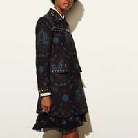 Coach Studded Tapestry Coat Blue