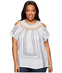 Lucky Brand Plus Size Cold Shoulder Crochet Top White Multi Women's Short Sleeve Pullover