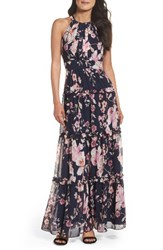Eliza J Women's Floral Halter Maxi Dress Navy Pink