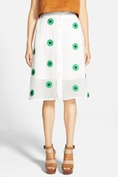 Sister Jane 'Primavera' Button Front Midi Skirt Juniors White