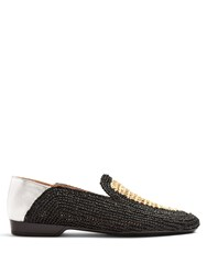 Robert Clergerie Feria Collapsible Heel Rafia Loafers Black Cream