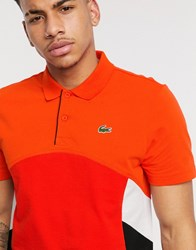 Lacoste Sport Polo With Colour Blocking In Red