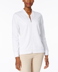 Alfred Dunner Bahama Bays Perforated Bomber Jacket White