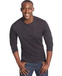 Alfani Black Pieced Thermal T Shirt Deep Black