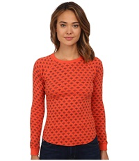 Billabong Don't You Know Long Sleeve Thermal Poppy Women's Sweatshirt Red