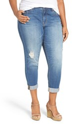 Melissa Mccarthy Seven7 Plus Size Women's Distressed Stretch High Rise Crop Girlfriend Jeans Indio Blue