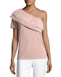 Casual Couture Double Ruffle One Shoulder Top Pink