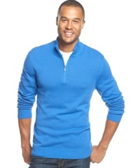 John Ashford Solid Quarter Zip Sweater City Blue