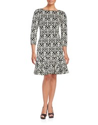 Ivanka Trump Plus Damask Jacquard Three Quarter Sleeve A Line Dress Ivory Black