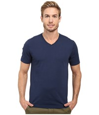 Agave Supima Vee Neck Short Sleeve Tee Black Iris Navy Men's T Shirt Blue