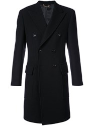 Versace Belted Double Breasted Coat Wool Black