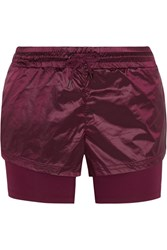 Adidas By Stella Mccartney Run Layered Climalite Shell And Jersey Shorts Merlot