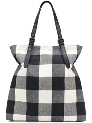 Tomas Maier Chequer Canvas Large Besace Black