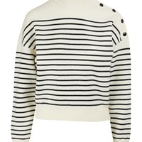 Celine Cropped Striped Knit Jumper Cream Black