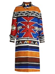 Stella Jean Usare Geometric Print Brushed Coat Multi